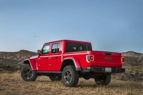 We drive the 2020 Jeep Gladiator, which combines the capability, comfort and tech of the Jeep Wrangler with a five-foot pickup bed. The Gladiator Rubicon (red) and the Gladiator Overland (silver) are shown here.