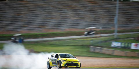 Fredric Aasbo drifting his Toyota Corolla hatchback