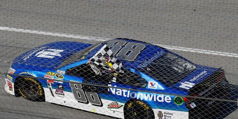 Dale Earnhardt Jr. won a NASCAR Sprint Cup Series race for the sixth time at Talladega Superspeedway in Alabama on Sunday.