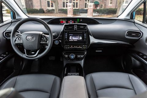 For 2019, the Toyota Prius switches to a more conventional trim naming structure (L Eco, LE, XLE and Limited) and the interior now features more dark colored materials, which replace the high-contrast surfaces found on the outgoing model.