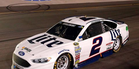Brad Keselowski had just enough gas to finish the race -- and not enough to do a celebratory burnout -- on Saturday night in Kentucky.