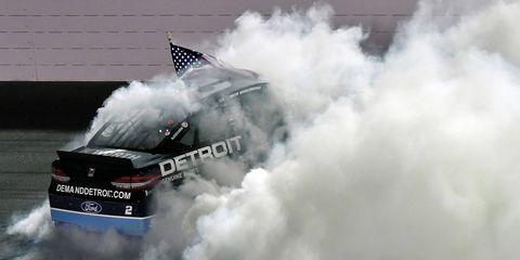 Brad Keselowski celebrates the Fourth of July weekend, NASCAR style.