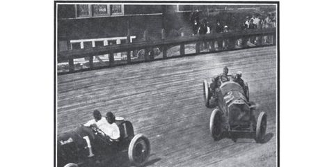 Organizers installed banked, board track-style wooden corners in the hopes of making the cars go faster. Sometimes they did, sometimes they didn't.