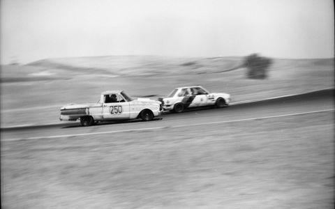 The Huevos Ranchero 1962 Ford Ranchero and Mutter Fokker Motorsports BMW 325.