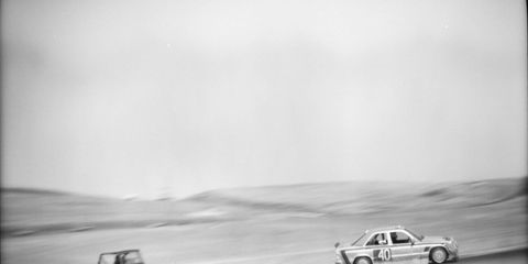 The Jeepstang 1956 Jeep CJ5 and Car Error Panamericana Mercedes-Benz 190E.