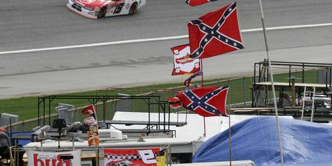 The Confederate flag is not an uncommon sight at NASCAR races, especially in the South.