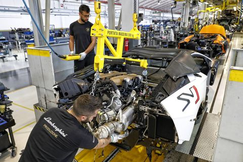 The 2019 Lamborghini Aventador SVJ being built on the assembly line