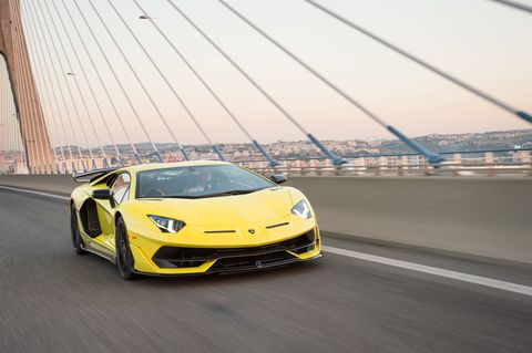The 2019 Lamborghini Aventador SVJ on the road