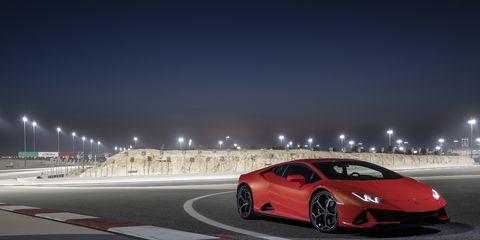 The 2020 Lamborghini Huracan Evo at the Bahrain International Circuit day and night