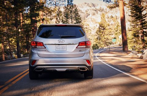 The 2018 Hyundai Santa Fe is available with front- or all-wheel drive and is powered by a 3.3-liter, 290-hp V6.