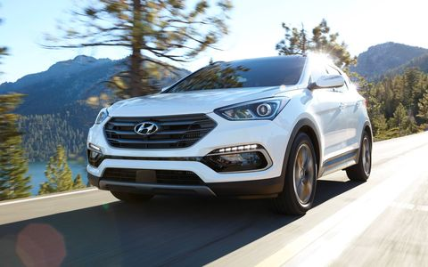 The 2018 Hyundai Santa Fe Sport is powered by a 185-hp 2.4-liter direct-injected four-cylinder or a turbocharged 2.0-liter four making 240 hp.