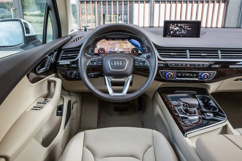 The 2017 Audi Q7 has seating for seven with 14.8 cubic feet of luggage capacity behind the back row.