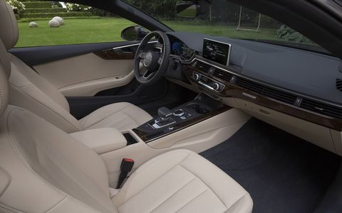 2018 Audi A5 2.0T Quattro interior has advanced driver assist options and fine, luxury finishes.