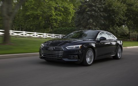 The 2018 Audi A5 2.0T Quattro has a 2.0-liter turbo engine producing 252 hp and 273 lb-ft of torque.