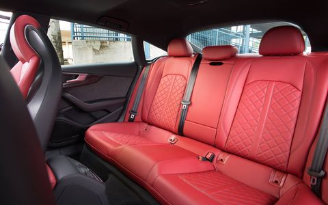 The 2018 Audi S5 Sportback has 21.8 cubic feet of luggage space, 35 cu-ft if you fold the seats down.