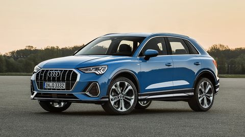 The Q3 is back for a second generation and it's all-new inside and out, boasting a longer wheelbase and the new corporate grille.