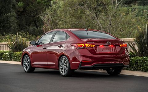 The 2018 Hyundai Accent SE has a 1.6-liter engine producing 130 hp and 119 lb-ft of torque.