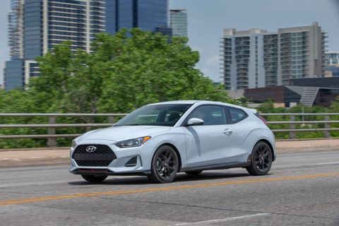 The 2019 Hyundai Veloster Turbo R-Spec comes with a 201-hp turbocharged I4.