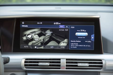 All the various screens of the NEXO infotainment system
