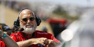 Graham Rahal says he hasn't heard from team co-owner David Letterman, shown at Sonoma in 2015, yet this season.