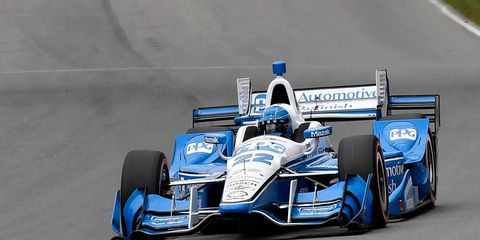 Series points leader Simon Pagenaud set a new track qualifying record on Saturday at Mid-Ohio.