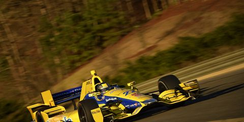 Marco Andretti takes laps as part of IndyCar testing at Barber Motorsports Park.