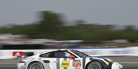 Frederic Makowiecki put his team's Porsche 911 RSR on the pole with a lap of one minute, 58.587 seconds (113.537 mph) at Sebring on Friday.