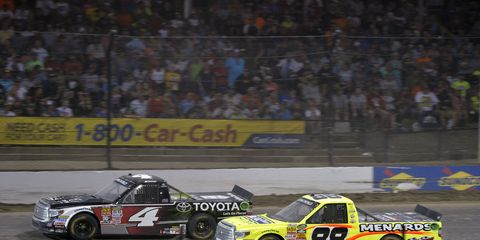 Erik Jones (No. 4) and Matt Crafton (No. 88) have been fighting hard for wins in the Camping World Truck Series all season.