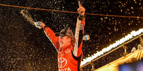 Christopher Bell celebrates his first Truck Series win on Wednesday night at Eldora.