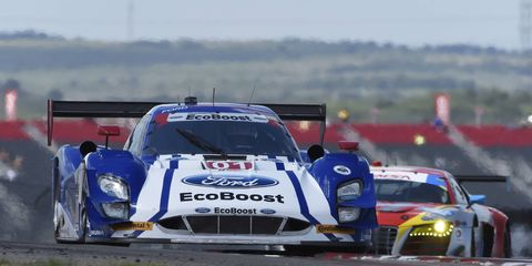 Scott Pruett and Joey Hand won from the pole position on Saturday.