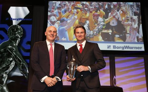 Andretti Autosport IndyCar driver Ryan Hunter-Reay's 2014 Indianapolis 500 victory tour culminated in Detroit on Wednesday night when he received his personal Baby Borg Trophy with his likeness on the base. The Baby Borg is a replica of one of the most famous trophies in sport -- the Borg-Warner Trophy. The ceremony was held at the Detroit Renaissance Center during the Automotive News World Congress Dinner.