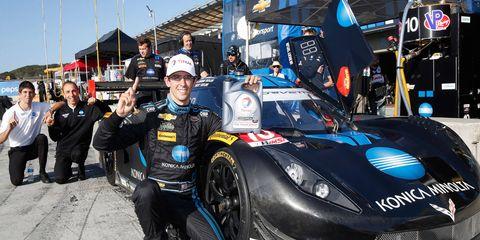 Jordan Taylor celebrates his first career pole in the Tudor Championship series on Saturday at Mazda Raceway Laguna Seca.