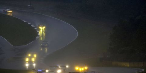 Wet weather and low visibility at Petit Le Mans helped dash the chances of some IMSA Tudor United SportsCar Championship contenders.