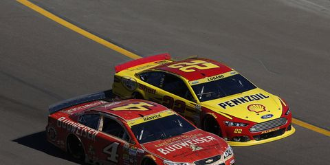 Kevin Harvick tried to get in Joey Logano's head on Wednesday during a NASCAR Sprint Cup contenders event.