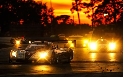Action Express Racing's Corvette DP races into the evening at Sebring.