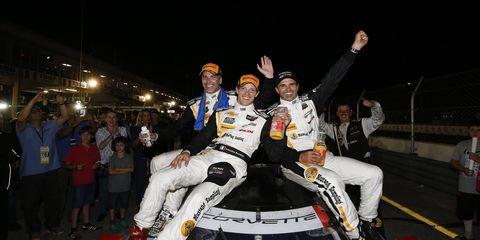 Action Express Racing celebrates a win at Sebring on Saturday.