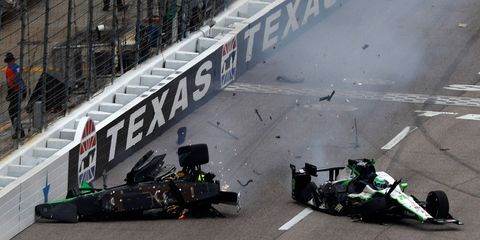 Josef Newgarden's car comes to rest after colliding with Conor Daly's car at Texas Motor Speedway on Sunday.