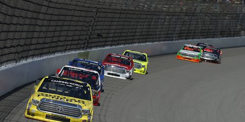 Kyle Busch won the Careers for Veterans 200 at Michigan International Speedway on Saturday. The victory was Busch's first-career NASCAR Camping World Truck Series win at MIS and the 44th of his carer.