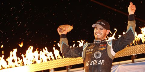 Kyle Larson won NASCAR's only national series event held on dirt Wednesday night at Eldora Speedway. And for his trouble, he got a trophy, a shovel and a giant toothbrush...