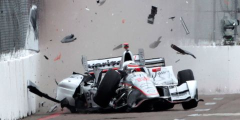 Will Power hits the wall during practice on Friday in St. Petersburg, Florida.