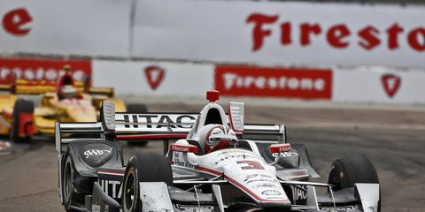 Helio Castroneves won the pole for this weekend's IndyCar race on Friday.