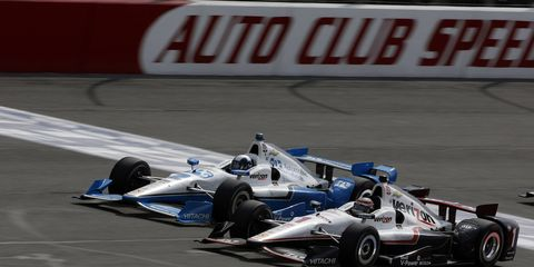 Team Penske drivers Juan Pablo Montoya and Will Power battle during last weekend's race at Fontana. Recently, Roger Penske said he wanted to keep Montoya, Power, Helio Castroneves and Simon Pagenaud.