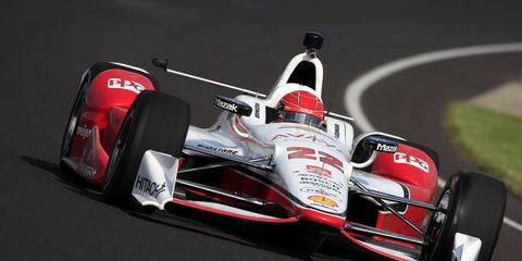 Simon Pagenaud was quickest on Friday and should be a contender for the Indianapolis 500 pole on Saturday.