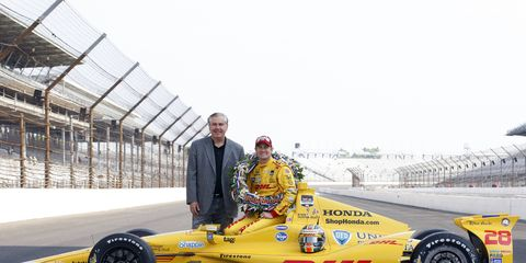 Hulman & Company President and Chief Financial Officer Jeff Belskus will retire from the company effective early in 2015. This image shows Belskus with IndyCar champion Ryan Hunter-Reay.