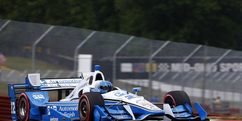 Simon Pagenaud won Sunday's IndyCar race at Mid-Ohio, taking the lead from teammate Will Power late in the race.