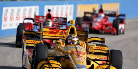 "Ryan Hunter-Reay calls racing at Iowa like racing in a ""soup bowl."""
