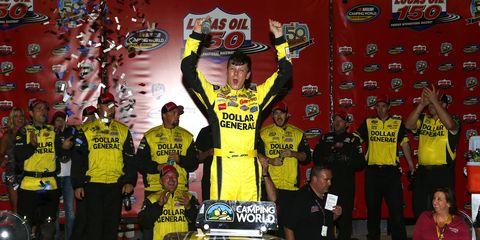 Erik Jones won the NASCAR Camping World Trucks race in Phoenix on Friday night.
