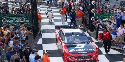 Joey Logano won Saturday's NASCAR Xfinity race at Watkins Glen.