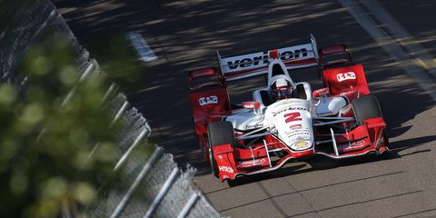 Juan Pablo Montoya won the IndyCar opener at St. Petersburg. He's the latest of several Penske drivers to make it to victory lane.