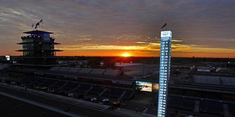 Dawn arrives on the traditional month of May at the Indianapolis Motor Speedway.